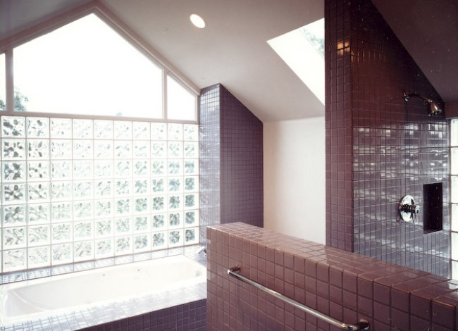 ceramic tile, glass block, walk-in shower, Grohe, interior design, master bathroom, Westwood