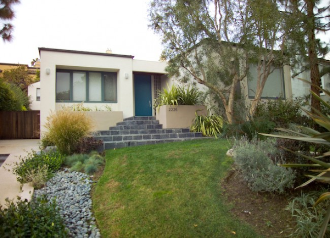 Rancho Park, West Los Angeles, single-family residential, custom entrance, modern architecture