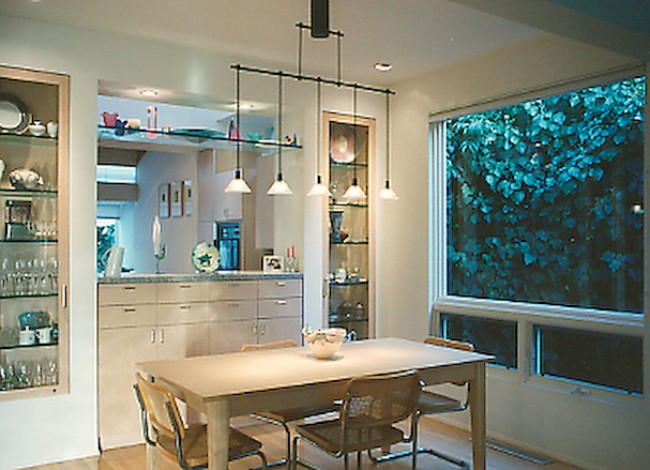 Rancho Park, West Los Angeles, dining room, side yard nature, pendant lighting fixture