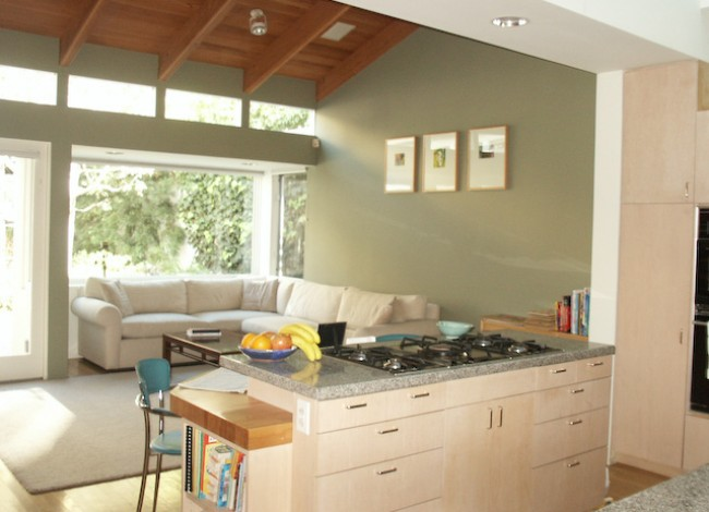 Rancho Park, West Los Angeles, kitchen open to family room, natural environment viewed from indoors