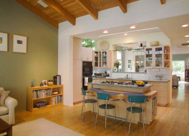 Rancho Park, West Los Angeles, open plan, maple cabinetry, recessed lighting