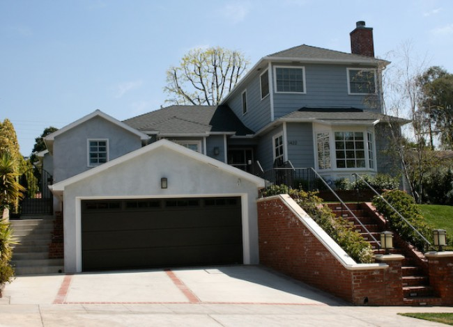 Garage addition at front elevation, residential curb appeal, Westwood