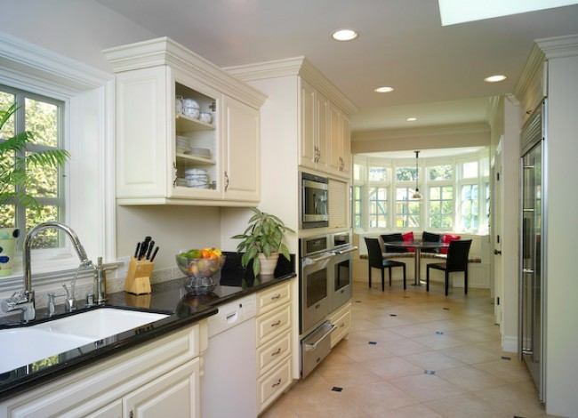 kitchen remodel and extension, built-in seating, new appliances, Westwood