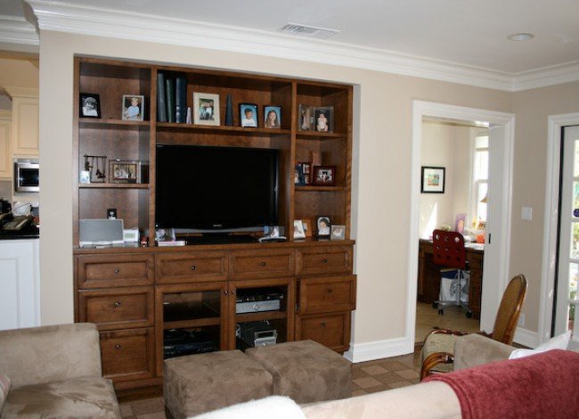 custom cabinetry at family room, media room, cherry wood, Westwood