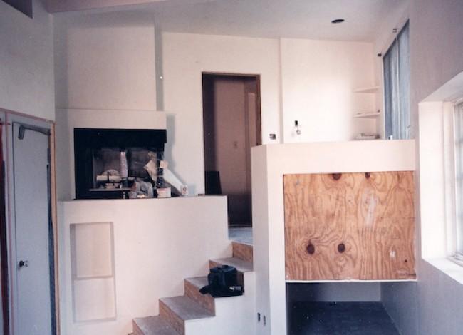 Los Feliz historical estate, new fireplace, existing wood floors updated, display niche