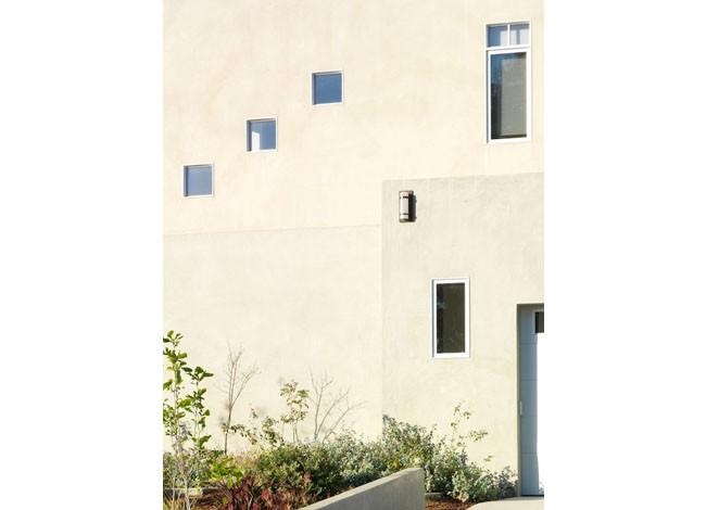 exterior lighting, residential elevation, modern minimalist detail, Mar Vista