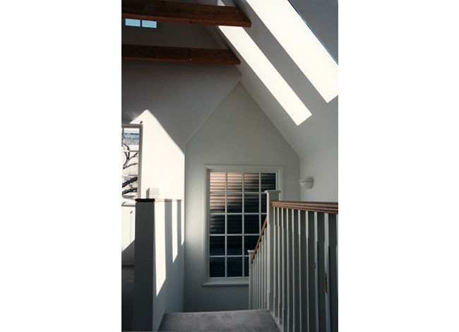 second story addition, skylights at stairwell, dramatic interior daylighting, Beverly Hills