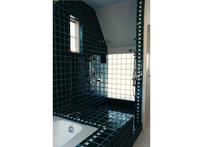 Hansgrohe body spray system, custom tiles, master bath walk-in shower, Beverly Hills
