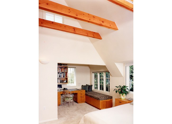 deep pitched roofs, exposed beams, concealed lighting, Beverly Hills