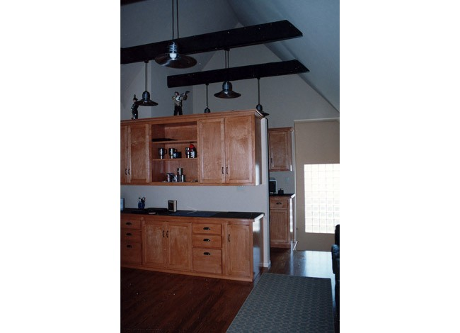 West Los Angeles, home office, exposed beams and cherry cabinets, pendant lighting