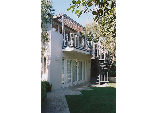 Rancho Park, accessory building, two home offices, wrought iron spiral stair